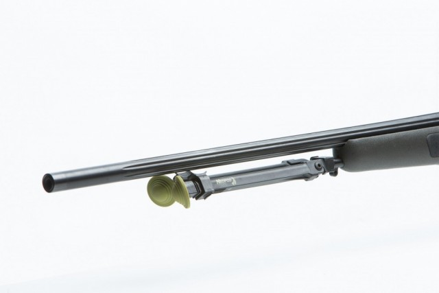 Blaser adapter with NeoPod Hunting Bipod with legs folded flush under barrel
